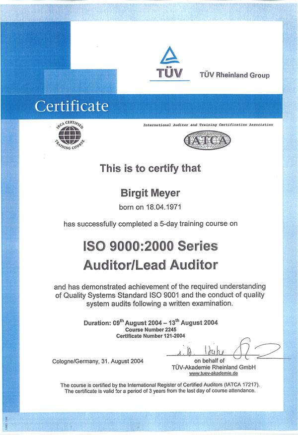 TÜV Zertifikat Rent a Fuhrparmanagerin